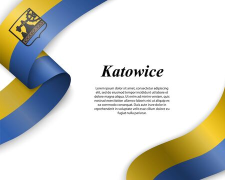 Waving ribbon with flag of Katowice City. Template for poster design