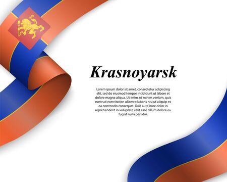 Waving ribbon with flag of Krasnoyarsk City. Template for poster design