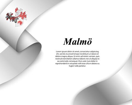 Waving ribbon with flag of Malmo City. Template for poster design