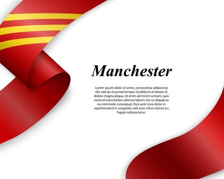 Waving ribbon with flag of Manchester City. Template for poster design