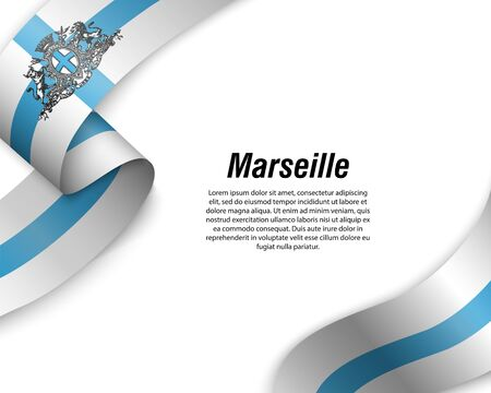 Waving ribbon with flag of Marseille City. Template for poster design Ilustracja