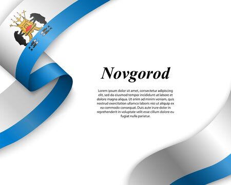 Waving ribbon with flag of Novgorod City. Template for poster design