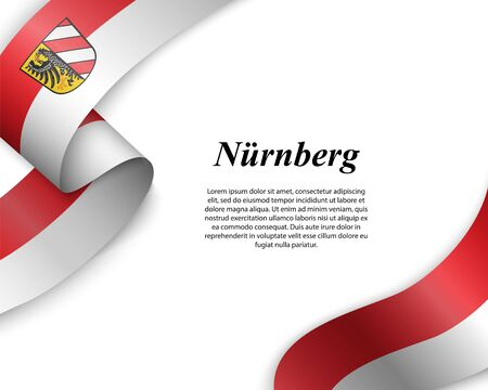 Waving ribbon with flag of Nuremberg City. Template for poster design