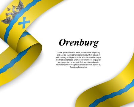 Waving ribbon with flag of Orenburg City. Template for poster design Ilustracja
