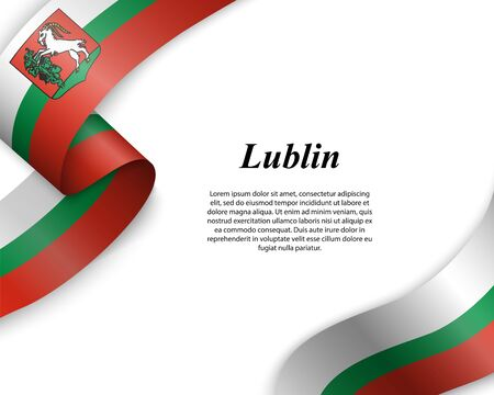 Waving ribbon with flag of Lublin City. Template for poster design