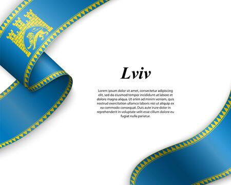 Waving ribbon with flag of Lviv City. Template for poster design