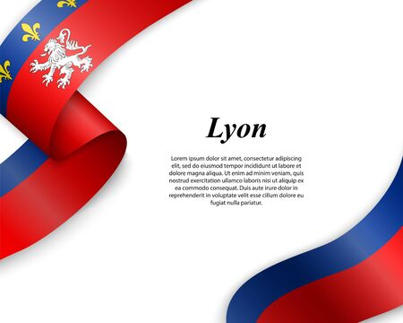 Waving ribbon with flag of Lyon City. Template for poster design Ilustracja