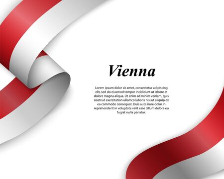 Waving ribbon with flag of Vienna City. Template for poster design
