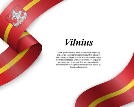 Waving ribbon with flag of Vilnius City. Template for poster design Ilustracja