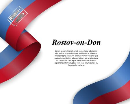 Waving ribbon with flag of Rostov-on-Don City. Template for poster design Ilustracja