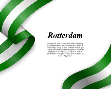 Waving ribbon with flag of Rotterdam City. Template for poster design