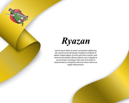 Waving ribbon with flag of Ryazan City. Template for poster design