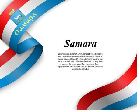 Waving ribbon with flag of Samara City. Template for poster design