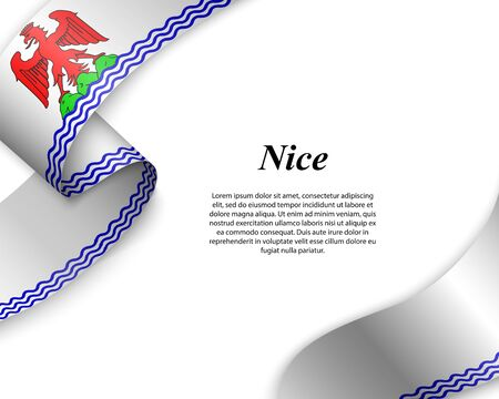 Waving ribbon with flag of Nice City. Template for poster design Ilustracja