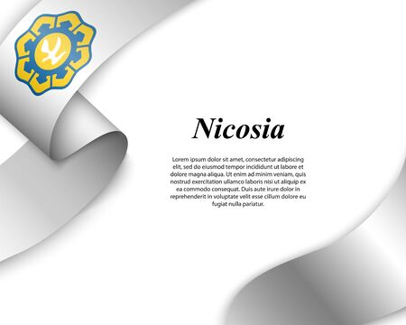 Waving ribbon with flag of Nicosia City. Template for poster design Ilustracja