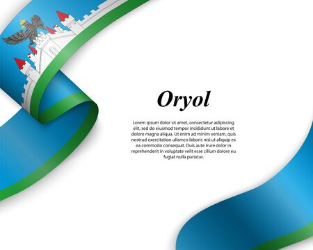 Waving ribbon with flag of Oryol City. Template for poster design Ilustracja