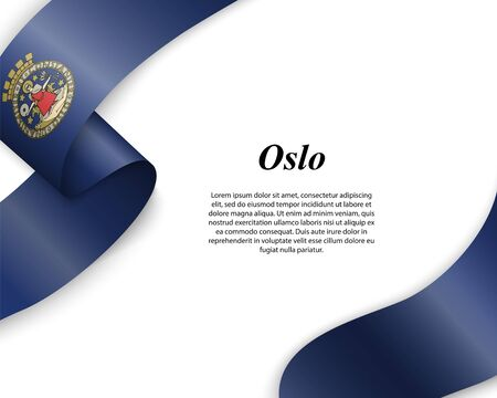 Waving ribbon with flag of Oslo City. Template for poster design