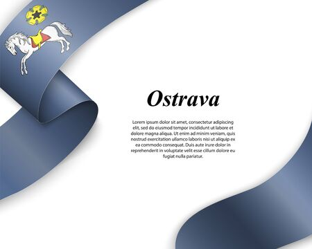 Waving ribbon with flag of Ostrava City. Template for poster design
