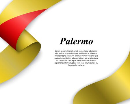 Waving ribbon with flag of Palermo City. Template for poster design