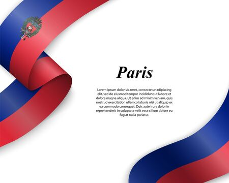 Waving ribbon with flag of Paris City. Template for poster design