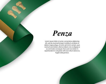 Waving ribbon with flag of Penza City. Template for poster design