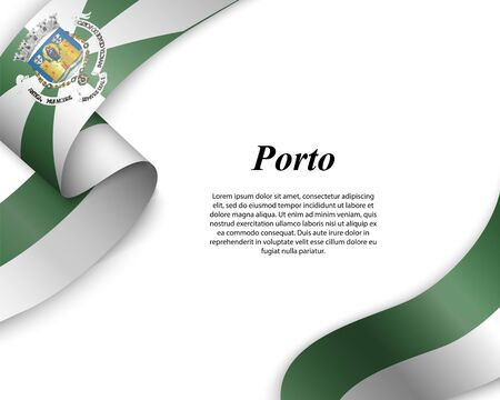 Waving ribbon with flag of Porto City. Template for poster design