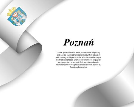 Waving ribbon with flag of Poznan City. Template for poster design Ilustracja
