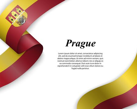 Waving ribbon with flag of Prague City. Template for poster design Ilustracja