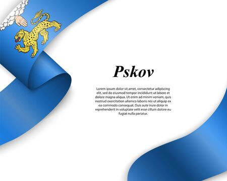 Waving ribbon with flag of Pskov City. Template for poster design