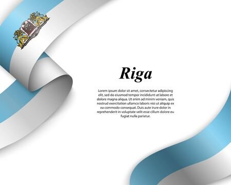 Waving ribbon with flag of Riga City. Template for poster design