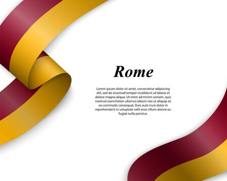 Waving ribbon with flag of Rome City. Template for poster design Ilustracja
