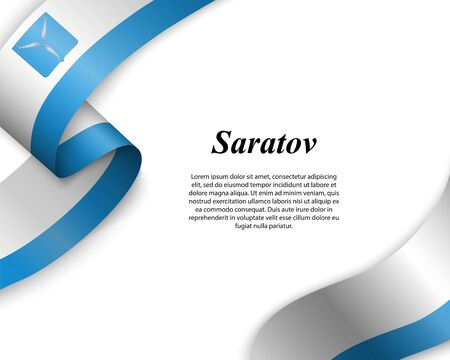 Waving ribbon with flag of Saratov City. Template for poster design Ilustracja