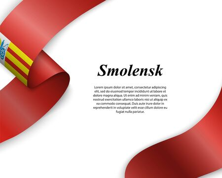 Waving ribbon with flag of Smolensk City. Template for poster design