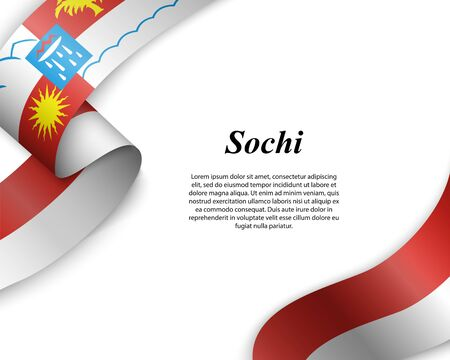 Waving ribbon with flag of Sochi City. Template for poster design Ilustracja