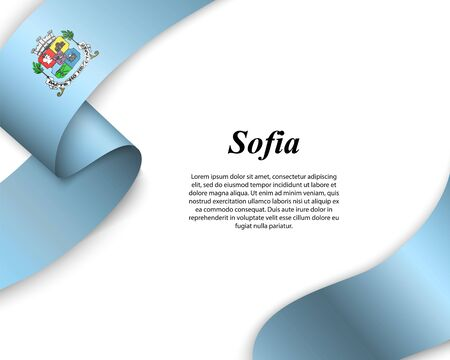 Waving ribbon with flag of Sofia City. Template for poster design Ilustracja
