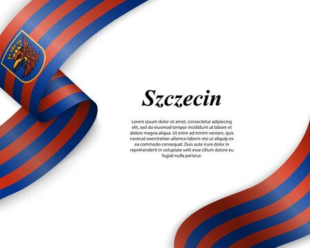 Waving ribbon with flag of Szczecin City. Template for poster design