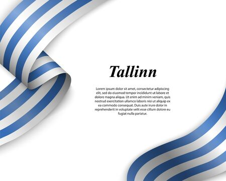 Waving ribbon with flag of Tallinn City. Template for poster design