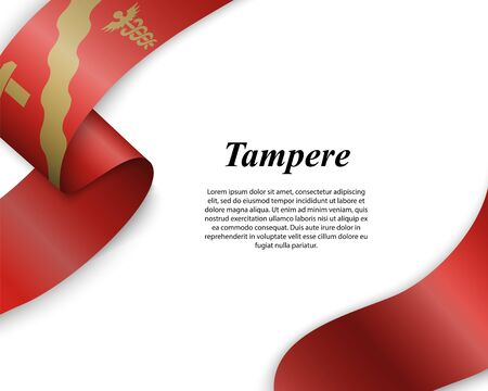Waving ribbon with flag of Tampere City. Template for poster design