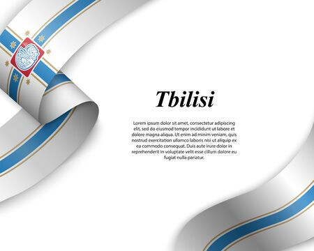 Waving ribbon with flag of Tbilisi City. Template for poster design