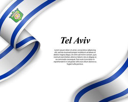 Waving ribbon with flag of Tel Aviv City. Template for poster design Ilustracja
