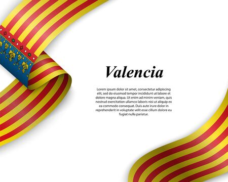 Waving ribbon with flag of Valencia City. Template for poster design