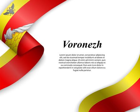 Waving ribbon with flag of Voronezh City. Template for poster design Ilustracja