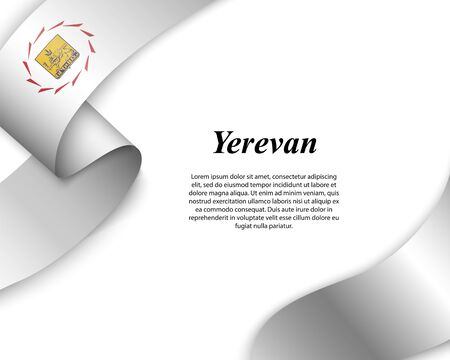 Waving ribbon with flag of Yerevan City. Template for poster design Ilustracja