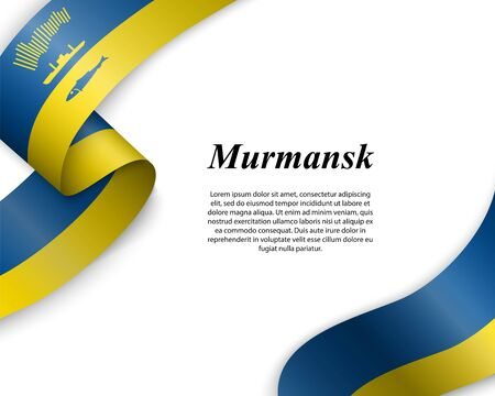 Waving ribbon with flag of Murmansk City. Template for poster design Ilustracja