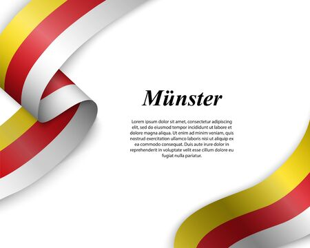 Waving ribbon with flag of Münster City. Template for poster design