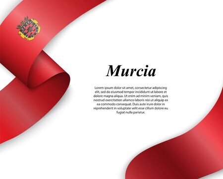 Waving ribbon with flag of Murcia City. Template for poster design