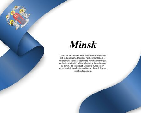 Waving ribbon with flag of Minsk City. Template for poster design Ilustracja