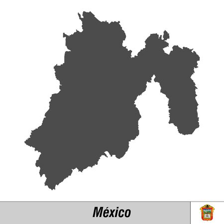 High quality map with flag state of Mexico - Mexico