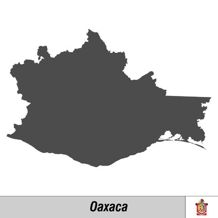 High quality map with flag state of Mexico - Oaxaca