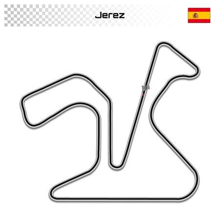 Jerez circuit for motorsport and autosport. Spanish grand prix race track. 일러스트